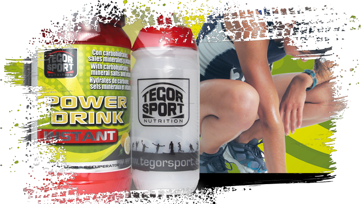 Bote de bebida isotónica Power Drink Instant y bidón