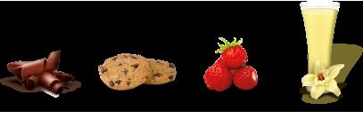 Sabores chocolate, cookies, fresas silvestres y vainilla