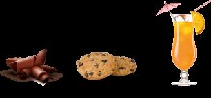 Sabores chocolate, cookies y tropical