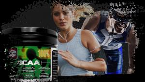 Bote recuperador muscular BCAA con deportistas