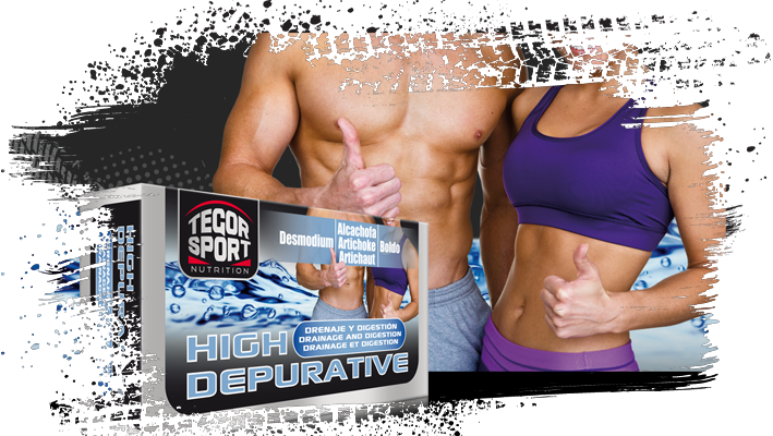 Caja del depurativo High Depurative con dos deportistas de fondo
