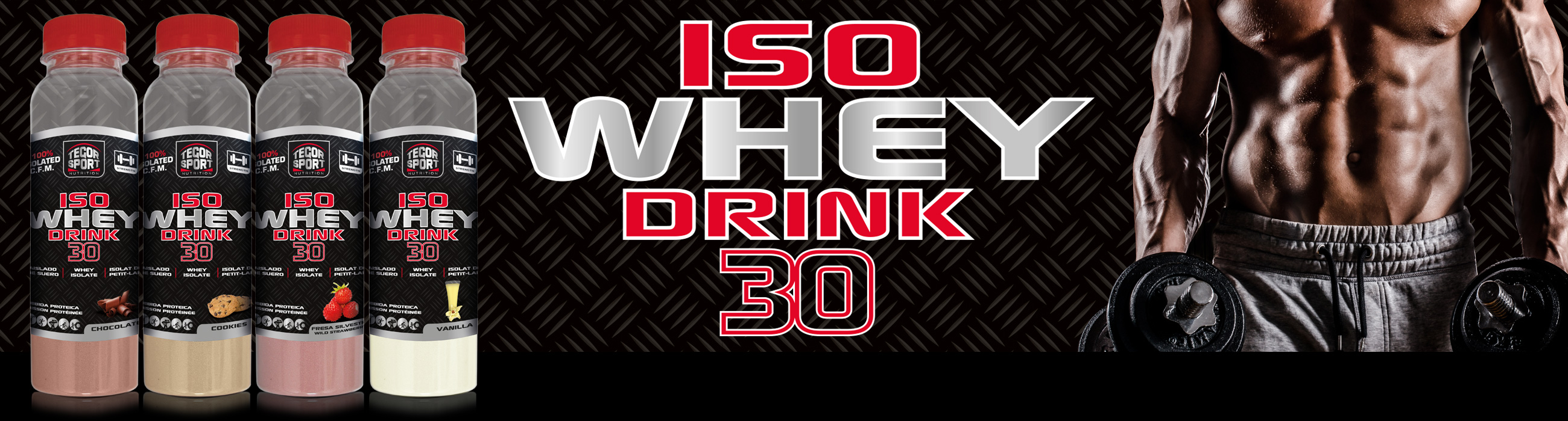 botellas Iso Whey Drink con deportista
