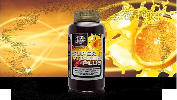 Bote de Super Vitamin Plus con una naranja de fondo