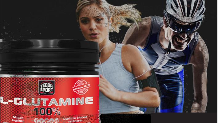 Bote de L-glutamine con fondo negro, mujer atleta y ciclista