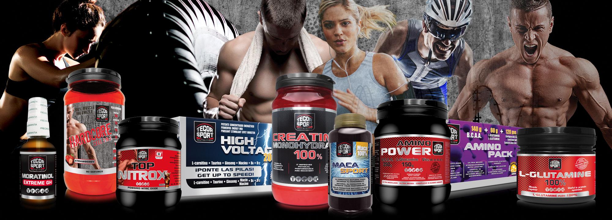 Bodegón de productos de Tegor Sport con deportistas de fondo