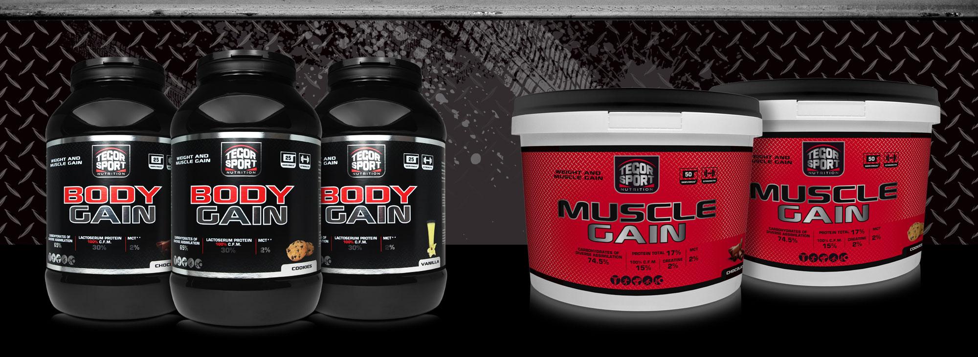 Botes con las gamas de proteínas con hidratos Body Gain y Muscle Gain