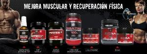 bodegón productos para la mejora muscular con la imágens de dos deportistas