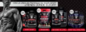 Bodegón con todas las líneas de proteínas de Tegos Sport