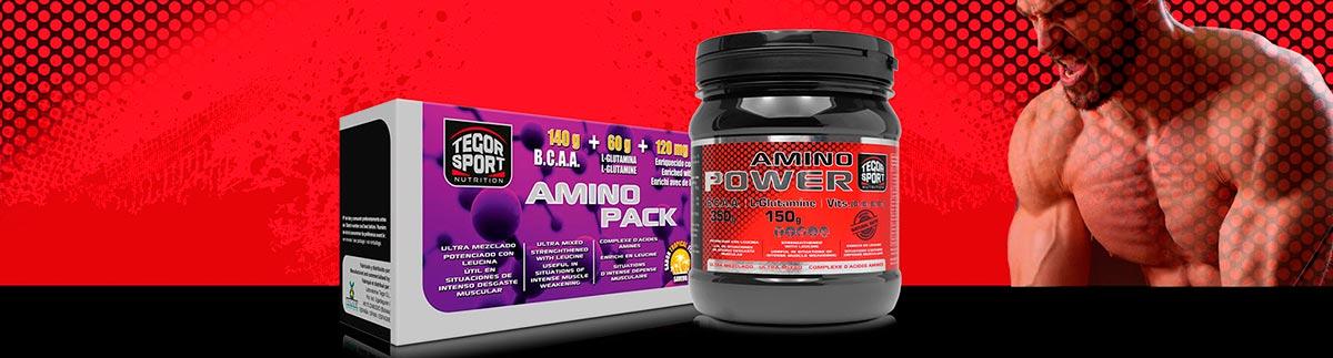 Bote y caja de aminoácidos Amino Power y Amino Pack