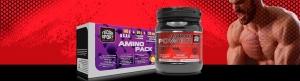 Bote y caja de aminoácidos con deportista y forma rectangular