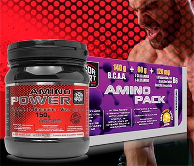 Bote y caja de aminoácidos con fondo rojo y deportista