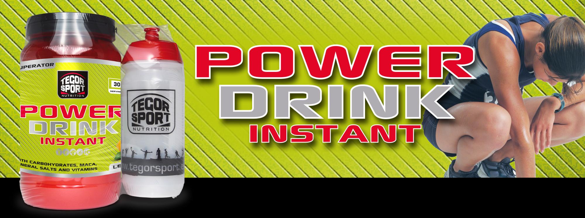 Bote de la bebida isotónia Power Drink Instant con coctelera y mujer atleta