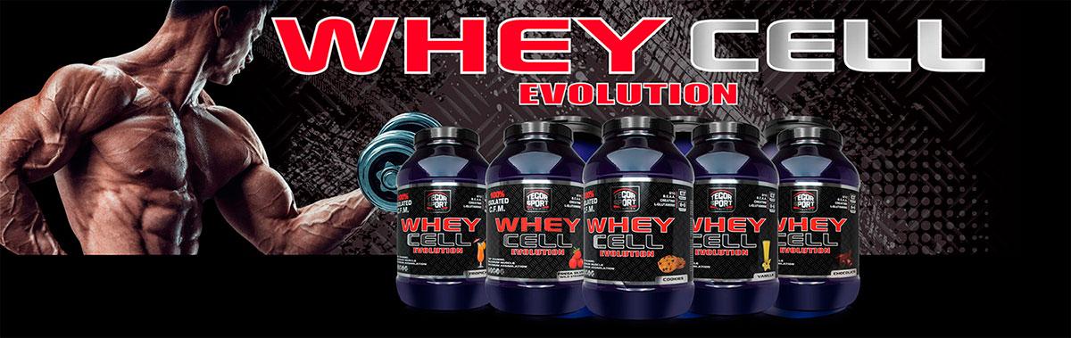Botes proteína Whey Cell Evolution, deportista y fondo negro