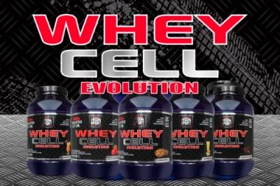 Botes de proteínas Whey Cell Evolution con fondo gris