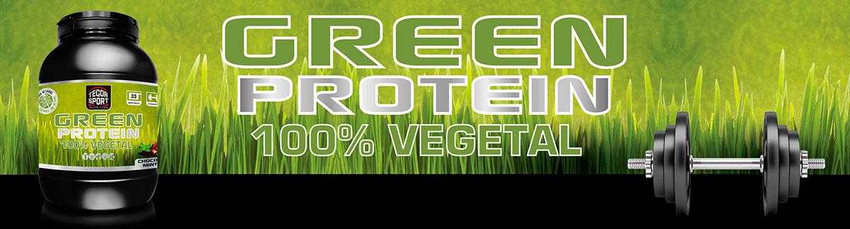 Bote de proteína vegetal Green Protein, pesas y fondo de césped