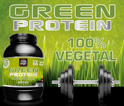 Bote de proteína vegetal Green Protein con pesas y fondo de cesped