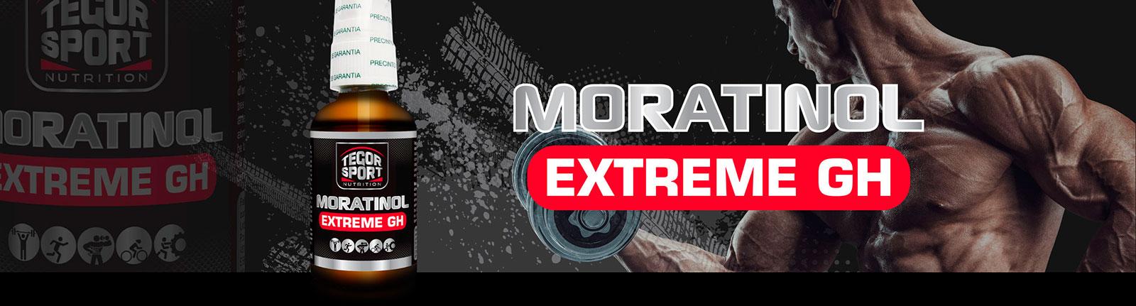 Botella Moratinol Extreme GH con imagen culturista