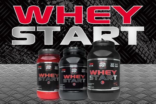 Botes de proteína Whey Start fondo negro