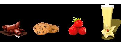 Sabor chocolate, cookies, fresas silvestres y vainilla